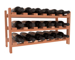 18 Bottle Stackable Wine Rack in Redwood with Satin Finish - Expansion to the next level! Stack these 18 bottle kits as high as the ceiling or place a single one on a counter top. Designed with emphasis on function and flexibility, these DIY wine racks are perfect for young collections and expert connoisseurs.