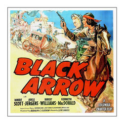 Custom Photo Factory - Black Arrow Vintage Western Poster Hires Vintage Poster Canvas Wall Art - Black Arrow Vintage Western Poster Hires Vintage Poster  Size: 20 Inches x 30 Inches . Ready to Hang on 1.5 Inch Thick Wooden Frame. 30 Day Money Back Guarantee. Made in America-Los Angeles, CA. High Quality, Archival Museum Grade Canvas. Will last 150 Plus Years Without Fading. High quality canvas art print using archival inks and museum grade canvas. Archival quality canvas print will last over 150 years without fading. Canvas reproduction comes in different sizes. Gallery-wrapped style: the entire print is wrapped around 1.5 inch thick wooden frame. We use the highest quality pine wood available. By purchasing this canvas art photo, you agree it's for personal use only and it's not for republication, re-transmission, reproduction or other use.