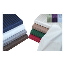Bed Linens - Egyptian Cotton 400 Thread Count Stripe Sheet Sets King Burgundy - 400 Thread Count Stripe Sheet Sets