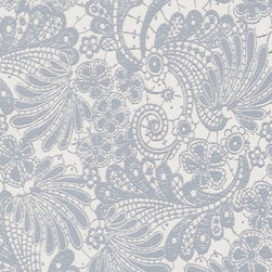 Walls Republic - Interlace Blue Floral Wallpaper, Double Roll - Interlace is a traditional lace pattern with a metallic backdrop creating a shimmering effect. Use in any space of your home for a vintage vibe.