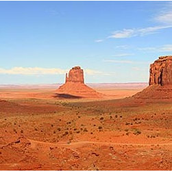 Magic Murals - Monument Valley Panorama Wall Mural -- Self-Adhesive Wallpaper by MagicMurals - Scenic panoramic vista of Monument Valley in the Navajo Nation along the Arizona and Utah state borders near the area known as Four Corners.  This desert scenery is an iconic view of the American West.