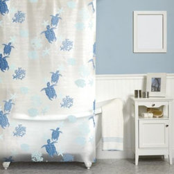 India Ink - Solomon Islands 70-Inch x 72-Inch Shower Curtain - Take the cool creatures of the South Pacific home with this bright, cheery curtain. Hang ten with turtles or splash with fish. Scatterd starfish and sea plants complete the airy, blue-on-blue look.