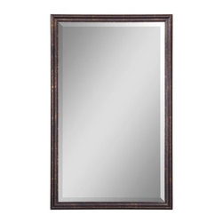 """Uttermost - Uttermost 14442 B Renzo Vanity Beveled Mirror with Distressed Bronze Frame - Uttermost 14442 B Renzo Vanity MirrorFrame is finished in distressed bronze with gold leaf highlights. Mirror has a generous 1 1/4"""" bevel.Features:"""