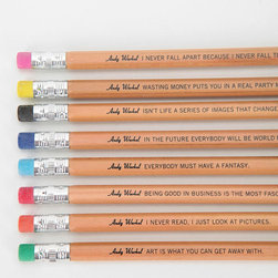 Andy Warhol Philosophy Pencils - These Andy Warhol quotes on pencils make the perfect desk accessories.