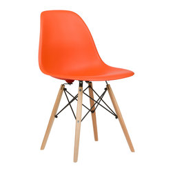 Mid-Century Slope Chair in Orange - Our Mid-Century Slope Chair is an ingenious design inspired by an iconic manufacturing process of the 1950s and 1960s. The original was born out of technological advancements that allowed a chair to be constructed out of a single mold of fiberglass. With the original mold no longer in production, today's designers have improved this process even further, resulting in a comfortable, stylish, lightweight chair. Replacing fiberglass with more eco-friendly polypropylene, the current iteration takes this incredible design and makes it accessible and modern, featuring a smooth polypropylene seat that contours to your body. This chair is also one of our most versatile pieces, fitting in at the dinner table, conference table, or anywhere else you're looking to add some seating.