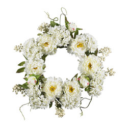 """Nearly Natural - Nearly Natural 20"""" Peony Hydrangea Wreath - Surprise that special someone (or just treat yourself) with this sunny wreath of springtime beauty. A full 20"""" in diameter."""