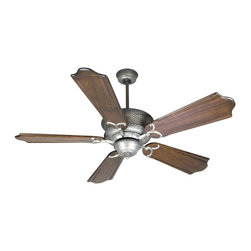 Craftmade - Riata 56 in. Fan in Pewter w Custom Carved Cl - Fan Specs:. Heavy-Duty, 3 Speed Reversible Motor. 2 in. and 6 in. Downrods (Included). Number of Fan Blades: 5. Blade Pitch: 14°. Motor Size: 188 x 15mm. High Speed Amps: 0.7. RPM (Hi-Med-Low): 210-120-78. Airflow (Cubic FT/MIN): 5770. Electricity Use: 71 Watts. Airflow Efficiency (Cubic FT/Min/Watt): 80. Blade Specs:. Blade Length: 56 in.. Suitable for Damp Locations