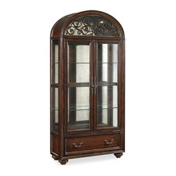"Hooker Furniture - Hooker Furniture Grand Palais Two-Door Display Cabinet - The essence of luxurious European traditional style, Grand Palais features bold scaling, dramatic shaping and exquisite design details. Two wood-framed glass doors. Two adjustable glass shelves with plate grooves. One bottom drawer. Touch lighting. Antique mirrored back panel. Hardwood Solids with Walnut, Mappa Burl, Ebony and Cherry Veneers with Resin. Dimensions: 42""W x 71.25""D x 90.25""H."