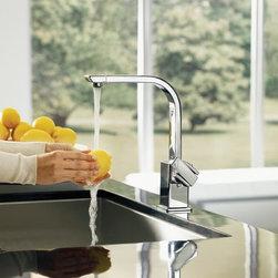 Moen Single Handle Kitchen Faucet - Moen S7170 90 Degree Single Handle High Arc Kitchen Faucet in Chrome