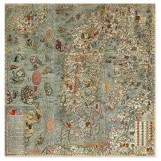 Vintage Nautical Sea Monster Map Shower Curtain by rebeccakorpita