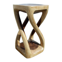 Asian Art Imports - Four Legged Twist Stool - Skillfully carved from a single piece of acacia wood, this piece can function as a stool, end table or plant stand. Acacia is valued for its wonderful contrasting wood tones.