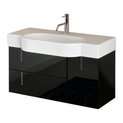 Iotti - Vanity Cabinet With White Ceramic Sink, Glossy Black - This bathroom vanity set features a cabinet made of engineered wood and a white ceramic self-rimming bathroom sink. Bathroom vanity cabinet is available in three finishes - glossy black (as shown in the picture), glossy white, and glossy gray. Please not vanity set does not include faucet. Made and designed in Italy.