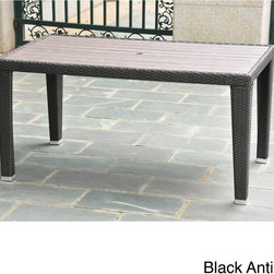 International Caravan - International Caravan Resin Wicker/Aluminum Outdoor Table - Add a touch of style to your outdoor space with this resin wicker table. A weather resistant finish and umbrella hole complete this table.