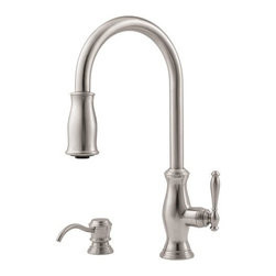 "Pfister - Pfister GT529-TMS Stainless Steel Hanover Hanover Pullout Spray - Hanover Pullout Spray Kitchen Faucet with Soap Dispenser Low LeadPfisterÂ's Hanover collection of bathroom and kitchen faucets and fixtures combines Old World craftsmanship with unmatched styling. European-inspired contours and healthy silhouettes contrast the bathroom faucetsÂ' high-arc spout for a beautiful look. TheyÂ're available in widespread and centerset configurations. For the other part of your bathroom, a tub and shower fixture or Rain Shower showerhead can help round out the look. The pull-down spout of the kitchen faucets is bound to be a focal point. Single handle control, a matching soap dispenser, and three finish options help to make this faucet a must-have for your kitchen.All brass faucet body construction - Weight: 7.5 LBS8"" centers, 2 hole installations1 metal lever handleADA CompliantIndustry leading, lifetime ceramic disc valveEquipped with pull-out spray nozzleMatching soap / lotion dispenser includedSpout swivels up to 180 degrees for increased versatilityOverall height: 17.375"" (measured from counter top to highest point of faucet)Spout height: 8"" (measured from counter top to spout outlet)Spout reach: 8"" (measured from center of faucet base to center of spout outlet)2.2 gallon-per-minute flow rateInstalls onto decks (counter tops) up to 2.0625"" thickLow lead compliant - complies with state-mandated low-lead requirements for plumbing productsDesigned for use with standard US plumbing connectionsAll necessary mounting hardware included75"" braided nylon hose Volume control sprayheadSingle post mounting ring and 3-hole deckplateMatching soap dispenserFully covered under Pfister s Pforever Lifetime WarrantyAbout PfisterFounded in 1910, Pfister (previously known as Price Pfister) is one of AmericaÂ's old"