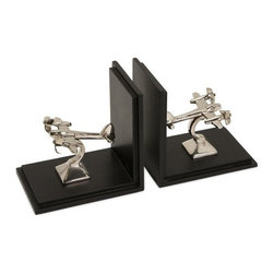 "IMAX - Up In The Air Bookends - Aviation office decor. Item Dimensions: (5""h x 5""w x 3.5"")"