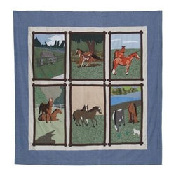 Patch Magic - Horse Friends Shower Curtain - 72 in. W x 72 in. L. 100% Cotton. Handmade. Machine washable. Line or flat dry only
