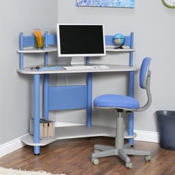 Calico Designs - Calico Study Corner Desk - Blue - 55120 BLUE - Shop for Childrens Desks from Hayneedle.com! Help them keep things neat and organized when it comes to projects homework and hobbies with the Calico Study Corner Desk - Blue. Built from durable metal and laminate this chic corner desk is ideal for their bedroom. The space-saving design is super convenient for tight spaces or those already claimed by the clutter of teens and tweens. With upper and lower shelves for storage plus a main area for a laptop notebooks or other supplies that suit their interests this desk provides a place all their own to encourage productivity and focus. Let them personalize the space with fun baubles and added storage (sold separately). Chair not included.About Calico DesignsFounded in 1985 under the name Studio RTA Calico Designs began producing affordably priced drafting tables and other pieces for use by artists and designers. They have since evolved and expanded their product offerings to include art sets easels craft tables and kids desks. Small-space compatibility is a top priority of the Company as are features that provide durability stability and the latest styles all while offering outstanding value. Calico looks forward to the future and to producing progressively innovative designs.