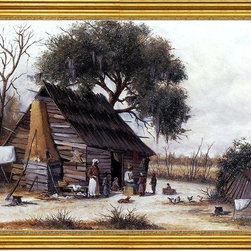 "William Aiken Walker-18""x24"" Framed Canvas - 18"" x 24"" William Aiken Walker Louisiana Cabin Scene with Stretched Hide on Weatherboard and Stock Chimney Covered with Clay framed premium canvas print reproduced to meet museum quality standards. Our museum quality canvas prints are produced using high-precision print technology for a more accurate reproduction printed on high quality canvas with fade-resistant, archival inks. Our progressive business model allows us to offer works of art to you at the best wholesale pricing, significantly less than art gallery prices, affordable to all. This artwork is hand stretched onto wooden stretcher bars, then mounted into our 3"" wide gold finish frame with black panel by one of our expert framers. Our framed canvas print comes with hardware, ready to hang on your wall.  We present a comprehensive collection of exceptional canvas art reproductions by William Aiken Walker."