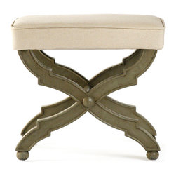 Kathy Kuo Home - French Country Distressed Olive Wood Ottoman - Take a stylish seat on the Crescenzo bench.  With a distinctly European accent, this slim line bench's signature detail is the ornate criss cross legs.