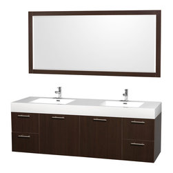 Wyndham Collection - 72 in. Double Vanity Set - Includes two integrated rectangular sinks, acrylic-resin top, mirror, drain assemblies and P-traps for easy assembly. Faucets not included. Unique and striking contemporary design. Modern clean lines and a truly elegant design. Modern wall-mount design. Single-hole faucet mount. Two door and four deep doweled drawers. Beautiful wood grain exteriors offset by modern brushed chrome door pulls. Provides a full complement of storage areas behind sturdy soft-close doors and drawers. Fully-extending soft-close drawer slides. Concealed, soft close door hinges and drawer glides. Mirror glass thickness: 0.75 in.. Highly water-resistant low V.O.C. finish. Eight stage preparation, veneering and finishing process. Metal hardware with antique bronze finish. Warranty: Two years limited. Made from beautiful veneers over highest quality grade E1 MDF. Espresso finish. Minimal assembly required. Mirror: 70 in. W x 33 in. H (48 lbs.). Vanity: 72 in. W x 21.75 in. D x 25 in. H (136 lbs.). Handling Instructions. Installation Instructions - Mirror. Installation Instructions - VanityAesthetic meet affordability in the Wyndham Collection Amare Vanity. you'll never hear a noisy door again! A wall-mounted vanity leaves space in your bathroom for you to relax. The simple clean lines of the Amare wall-mounted vanity family are no-fuss and all style.