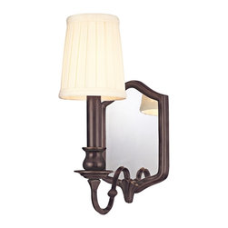 "Hudson Valley - Country - Cottage Endicott Old Bronze 11 1/2"" High Wall Sconce - Upgrade the look of dining areas seating arrangements bedrooms and more. This fixture features a beautiful Old Bronze finish with cream off-white shades. A backing mirror helps scatter and reflect the light. From the Endicott Collection. Old Bronze finish. Solid brass construction. Takes one 60 watt candelabra bulb (not included). 11 1/2"" high. 11"" wide. Extends 6"" from the wall. Backplate is 5"" wide 8"" high. Shade is 3"" across the top 4"" across the bottom and 4 3/4"" high.  Old Bronze finish.   Solid brass construction.   Takes one 60 watt candelabra bulb (not included).   11 1/2"" high.   11"" wide.   Extends 6"" from the wall.   Backplate is 5"" wide 8"" high.   Shade is 3"" across the top 4"" across the bottom and 4 3/4"" high."