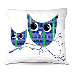 DiaNoche Designs - Pillow Linen by Susie Kunzelman - Owl Suspenders Blue - Add a little texture and style to your decor with our Woven Linen throw pillows. The material has a smooth boxy weave and each pillow is machine loomed, then printed and sewn in the USA.  100% smooth poly with cushy supportive pillow insert with a hidden zip closure. Dye Sublimation printing adheres the ink to the material for long life and durability. Double Sided Print, machine wash upon arrival for maximum softness. Product may vary slightly from image.