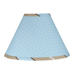 Sweet Jojo Designs - Blue & Chocolate Mod Dots Lamp Shade - Blue & Chocolate Mod Dots Lamp Shade by Sweet Jojo Designs is a beautifully designed childrens lamp shade that is made to fit small desk-sized lamp bases (base not included).  The lampshade attaches securely on the lamp's light bulb socket and the light bulb is twisted in through the opening at the top.