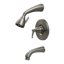 Whitehaus Collection - Pewter Whitehaus 614.835PR Wall Mount Shower Set with Valve Tub Filler & Diverte - Streamlined style and modern design makes wall mounted shower set with valve tube filler and diverter by Whitehouse an ideal complement for modern bathrooms. Cleanly designed matching showerhead and valve brings elegance to your bathroom d?cor. The Simple, elegant and practical design are just some of the reliable performance of this shower.