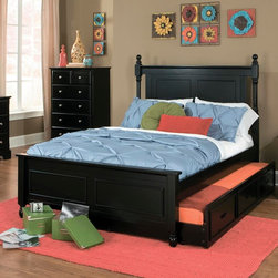 Homelegance - Homelegance Morelle Captain's Bed w/ Trundle in Black Full - The warmth of cottage living is invoked by the classic styling of the Morelle Collection. The collection is designed with many features perfect for today s casual lifestyle such as a low post bed with simple picture framing and round finials plus molded drawer fronts and satin nickel knobs on the case pieces. The addition of a pull out trundle and toy box offerings further the functionality of the collection. The ability to choose from twin, full, queen, California king and Eastern king bed sizes makes this group perfect for youth bedrooms, guest bedrooms or master bedrooms. Adding to the versatility are two distinct painted finishes, black and white. - 1356-CB-FL.  Product features: Low post bed with simple picture framing; Round finials plus molded drawer fronts and satin nickel knobs ; Black Finish; Available in Twin and Full sizes. Product includes: Headboard (1); Footboard (1); Rails & Slats (1); Trundle (1). Captain's Bed w/ Trundle in Black belongs to Morelle Collection by Homelegance.
