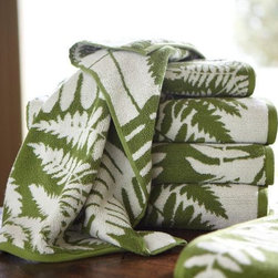Fern Jacquard Organic Bath Towels - Switch out your towels for these fern-printed, organic bath towels. They would look great in a main bathroom or a powder room.
