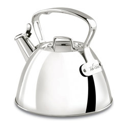 All-Clad - All-Clad 2-qt. Tea Kettle Multicolor - E8619964 - Shop for Kettles (Stovetop) from Hayneedle.com! The All-Clad 2-qt. Tea Kettle is an ideal accessory for the tea lover who values presentation performance and taste. The traditional beauty of this highly polished stainless steel kettle imbues the tea making process with understated elegance. Its performance features are equally appealing: a loud whistle that lets you roam while the water's boiling and a sturdy looped handle with cutouts for a stay-cool design. Stainless and dishwasher safe this lovely kettle can be used on induction and other stovetops. About All-CladFounded in 1971 in Canonsburg Pennsylvania All-Clad Metalcrafters produces the world's finest cookware in its Southwestern Pennsylvania rolling mill using the same revolutionary processes that they introduced forty years ago. Today All-Clad is the only bonded cookware that's handcrafted by American craftsmen using American-made metals. Originally founded to meet the highest standards of professional chefs All-Clad has become the premier choice of cookware enthusiasts of all experience levels from world-class chefs to passionate home cooks in everyday American kitchens. The unsurpassed quality and performance of All-Clad cookware is derived from its innovative roll bonding process which uses a proprietary recipe of metals. All-Clad cookware is hand-inspected at every stage of the manufacturing process and is famous for the uncompromising quality that's evident in every detail from its impeccable balance in your hand to its meticulous hand-finishing.