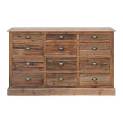 Urban Home Salvaged Pine Dresser - Made of Salvaged Barn Wood. Features 12 drawers and weathered brass clam shell drawer pulls.
