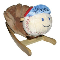 "Fifthroom - Plush Homer Baseball Rocker - This plush baseball rocker features a catchers mitt for the seat and a cute smiley baseball  face.  ""Homer"" also plays ""Take Me Out to the Ball Game"" and will be a big hit in your child's nursery.  Recommended for children ages 18 months and up. Easily cleans with soap and water."