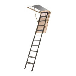 "Fakro - LMS 30x54 Metal Insulated Attic Ladder 350lbs 10'1"" - Load 350 pounds; The insulated & sealed lid will save energy; Construction elements are not visible on the finished side; Outside Frame Dimensions in inches: 29 5/8 x 53 1/2; Height of the folded stairs: 11.5 inches; Minimum Rough Opening in inches: 30.0 x 53 3/4; Maximum Height Floor to Ceiling: 121 inches (10 feet 1 inch); Landing (Swing) Space: 80; Minimum Floor Space: 64 inches; Unit Weight: 77 pounds. Attic stairs (or loft ladders) may be used to hide your treasures in your attic (instead of the basement, where the moist environment can damage them) and are a perfect way to access an extra bedroom, room for study or play space. Ladders are designed for your convenience with the fold down stairs system, equipped with all accessories.  They have the insulated lid (cover) with a lock making it possible to install it in any place in the house (or garage) without worrying about the heat loss or security.  High quality construction supports up to 350 lb. loads. The uniquely designed stairway is an attractive alternative for professional builders and residential customers for DIY projects.  Stairs are easy to install and use.Attic Stairs consists of three folding sections made of steel powder coated. The ladder provides easy and safe access to attic. The space saving ladder neatly folds away in to the ceiling. The insulated & sealed lid will save your energy. High quality, durability, high comfort of use and simplicity of installation make the attic stairs valuable and attractive addition to your home.Every unit is equipped with a metal rod, which you will use to lock or unlock the cover of attic stairs. Safe opening system never allows the drop of the unlocked cover further than maximum set limit. Manufacturer pre-sets the one-foot drop of the attic stairs' opening system. Attic stairs' cover is filled with insulation to increase R-value and to eliminate the need of extra insulation. The lid has a wooden frame finished with HDF board on both sides and may be painted with the same color as your ceiling.  The cover is sealed with rubber gasket and all construction elements are not visible on the finished side.  The original construction of the opening mechanism is designed to prevent any restriction to access attic space. This mechanism securely locks in place the lid when fully opened and stabilizes the entire ladder for your safety. After unlocking, you can operate your attic stairs virtually by one hand, since adjustable springs will let you open the cover very easy and smoothly. The installation brackets (sliding brackets) fasten the entire ladder to the attic stairs' cover and enable you to adjust the distance between cover and the ladder itself. The specials anti slip grooves were cut on the surface of each step.European designed & manufactured, this products was appointed by Professional Builder Magazine as a ""PRODUCT OF THE YEAR""!."