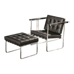 Fine Mod Imports - Celona Leather Chair and Ottoman - Features: