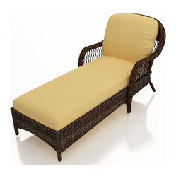 Leona Traditional Wicker Chaise Lounge, Gold Cushions