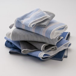 Stripe Towels - I am so ridiculously excited about these two-toned towels of lovely chambray and terrycloth. Towels are a staple in the bathroom and are a great place to show some flair. These towels have a vintage, worn feel.