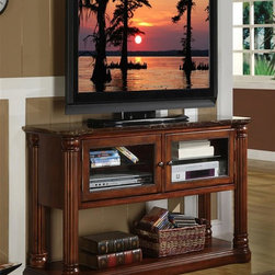 Legends Furniture - Monte Carlo TV Console - Marble top. Two clear glass doors. One shelf. Limited lifetime warranty. Made from solid poplar, PB with birch veneer. Hazelnut finish. 52 in. W x 18 in. D x 32 in. H. Assembly Instructions