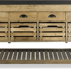 Stone Top Kitchen Island - The drawers in this rustic kitchen island remind me of old-school library card catalog systems in the very best of ways. They provide ample storage for all your kitchen accessories.