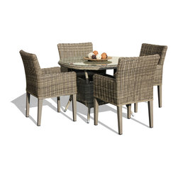TKC - 5 Piece Outdoor Wicker Patio Furniture Dining Set - Clearance prices available while supplies last.