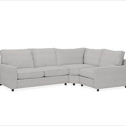 "PB Comfort Roll Arm Upholstered Left 3-Piece Wedge Sectional, Box, Down Blend Wr - Sink into this comfort sectional just once, and you'll know how it got its name. With extra-deep seats and a wedge that maximizes legroom at the corner, this eco-friendly collection provides roomy comfort for the whole family. 114.5"" w x 84.5"" d x 42"" d x 39"" h {{link path='pages/popups/PB-FG-Comfort-Square-Arm-4.html' class='popup' width='720' height='800'}}View the dimension diagram for more information{{/link}}. {{link path='pages/popups/PB-FG-Comfort-Square-Arm-6.html' class='popup' width='720' height='800'}}The fit & measuring guide should be read prior to placing your order{{/link}}. Choose polyester wrapped cushions for a tailored and neat look, or down-blend for a casual and relaxed look. Choice of knife-edged or box-style back cushions. Proudly made in America, {{link path='/stylehouse/videos/videos/pbq_v36_rel.html?cm_sp=Video_PIP-_-PBQUALITY-_-SUTTER_STREET' class='popup' width='950' height='300'}}view video{{/link}}. For shipping and return information, click on the shipping tab. When making your selection, see the Quick Ship and Special Order fabrics below. {{link path='pages/popups/PB-FG-Comfort-Square-Arm-7.html' class='popup' width='720' height='800'}} Additional fabrics not shown below can be seen here{{/link}}. Please call 1.888.779.5176 to place your order for these additional fabrics."