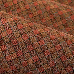 Squares Upholstery Fabric in Autumn - Squares Upholstery Fabric in Autumn is an orange and rust, geometric patterned chenille perfect for upholstering sofas, chairs, and seats or accent pillows. This softly textured upholstery fabric has a cozy feel and the warm color scheme creates a nostalgic look that will have dreaming of falling leaves and warm beverages all year long. Made from 56% cotton, 40% rayon, and 4% polyester, this fabric passes 15,000+ double rubs on the Wyzenbeek Abrasion Test. Cleaning Code: S; UFAC: Class I; passes CA117 Test. Width: 54″