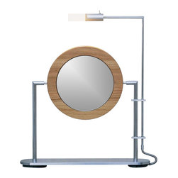WS Bath Collections - TS1 Magnifying Mirror w Light and Walnut Wood - Choose Magnification: 3xMakeup Magnifying Mirror with Light. Massive Solid Stainless Steel. Hand Brushed. Solid Walnut Wood Frame. Made to Highest Industry Standards. Made in Germany. Product Material: Brushed Stainless Steel. Finish/Color: Silver. Dimensions: 10.6 in. Diameter