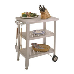 John Boos - Stainless Steel Top Kitchen Cart - Cucina Ava - Great for the barbecue or coffee on the deck. Featuring stainless steel in its entirety, this Cucina Avanti kitchen cart is a unique, contemporary design. Take the food to the party with this mobile kitchen cart! The creative towel bar positioned on one end can also work as a handle to easily relocate the kitchen cart. This super resourceful Stainless Steel Top Kitchen Cart - Cucina Avanti is a wonderful way to condense all your kitchen necessities, but it�۪s also a solution to small apartments that lack counter space. * Stainless steel top. Food Service Grade, Stainless steel shelves. Stainless steel legs & towel bar. Glides & rigid casters on two legs. 35 in. H x 20 in. D x 30 in W x 76 lbs.