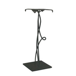 """Mathews & Company - 30"""" Vine Accent Table - Every small detail of this 30"""" elegant wrought iron table has been crafted and molded to perfection by the artisans of Mathews & Co. The three vines growing from the table's solid iron square base twist and entwine with each other in a harmony of graceful curves and loops. Reaching the top, the vines disappear into a tabletop whose corners are made to resemble wide-open petals. Consider how beautifully this table will perfectly decorate a corner in your house. Pictured in Black finish."""
