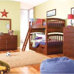 Dillon Twin over Twin Bunk Bed - Kids don't like to go to sleep - period. But with the Dillon Twin over Twin Bunk Bed you might just find your child beating you to bedtime. This kids bunk bed comes in an attractive cherry brown finish that will dress up even the messiest of kids' rooms. Including a ladder guard rails and slat packs this beautiful twin over twin bunk bed is super safe and secure. If you find yourself dreading the bedtime routine tripping over toys or crushed by cluttered clothes in your kid's room order the Dillon Twin over Twin Bunk Bed today. We take your family's safety seriously. That's why all of our bunk beds come with a bunkie board slat pack or metal grid support system. These provide complete mattress support and secure the mattress within the bunk bed frame. Please note: Bunk beds and loft beds are only to be used by children 6 years of age or older. About Lea IndustriesLea Industries is a leading manufacturer of youth furniture. Each piece is crafted from fine hardwoods veneers wood products and simulated wood to ensure both durable and quality furniture that will stand up to years of wear and tear. Lea's youth furniture offers a wide assortment of styles for both girls and boys with a broad selection of specialized functional designs including four-poster canopy beds bunk beds storage beds dual sleep beds student desks and learning centers for youth computing. Lea's wide variety of styles ranges from 18th century and country to casual contemporary. Lea traces its origins back to 1869. Their headquarters is located in Greensboro N.C.