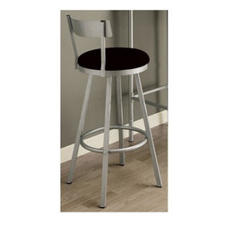 """Monarch Specialties - 22 in. Swivel Barstool - Set of 2 - SILVER METAL 29""""H SWIVEL BARSTOOL / 2PCS PER CARTON Set of 2. Sleek legs. Low profile seat back. Black microfiber seat cushions. Well positioned footrest for added comfort. Made from metal. Silver finish. 22 in. Dia. x 43 in. H (32 lbs.)These swivel barstools will be the perfect addition to any dining space."""