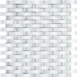 Vintrav Ice White 3D Waves Glass Mosaic Tiles, Sheet - Vintrav Ice White 3D Waves Glass Mosaic Tiles for Bathroom Floor, Kitchen Backsplash, unmatched quality.