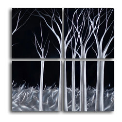 """'Titanium Forest' 4 Piece Handmade Metal Wall Art Set - Size: 32"""" x 32"""" (16"""" x 16"""" x 4pc).  Enjoy a 100% hand crafted metal wall art made of high grade brushed aluminum over a 1/2 inch thick inner wooden frame. This beautiful wall decor is hand painted and ready to hang out of the box. Each aluminum sheet is hand sanded and hand grinded until the desired holographic effect is accomplished. This process brings the artwork to life and you see it moving as you walk by. Then the grinded panels are hand painted with multiple layers of paint and finished with clear UV coat. With each purchase of our metal art you receive a one of a kind piece due to the handcrafted nature of the product. Hand crafted by a single talented artist. Due to the handcrafted nature, each piece may have subtle differences."""