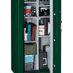 Stack-on TD-22-GB-E-S Total Defense Fire Resistant & Waterproof Safe w/ Door Sto - Stack-on TD-22-GB-E-S Total Defense Fire Resistant & Waterproof Safe w/ Door Storage Combination Lock - 22-Gun is a beautiful high gloss, hunter green powder paint finish with gold accents allows this safe to blend in with any decor. It has a 3 number combination lock and a drill resistant hardened steel plate behind the lock prevents unauthorized access to your firearms.